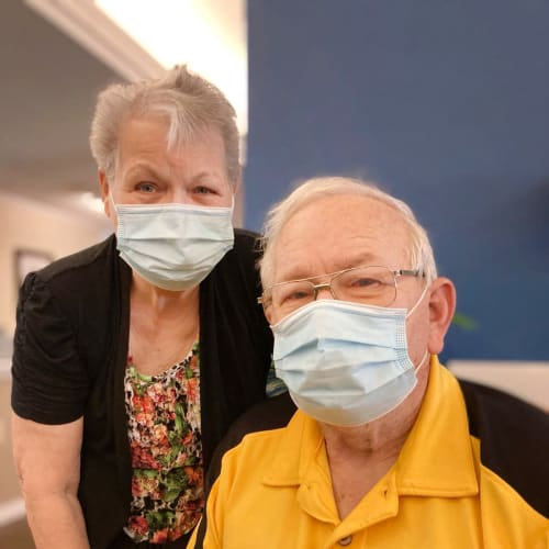 Two residents in masks at Madison House in Norfolk, Nebraska
