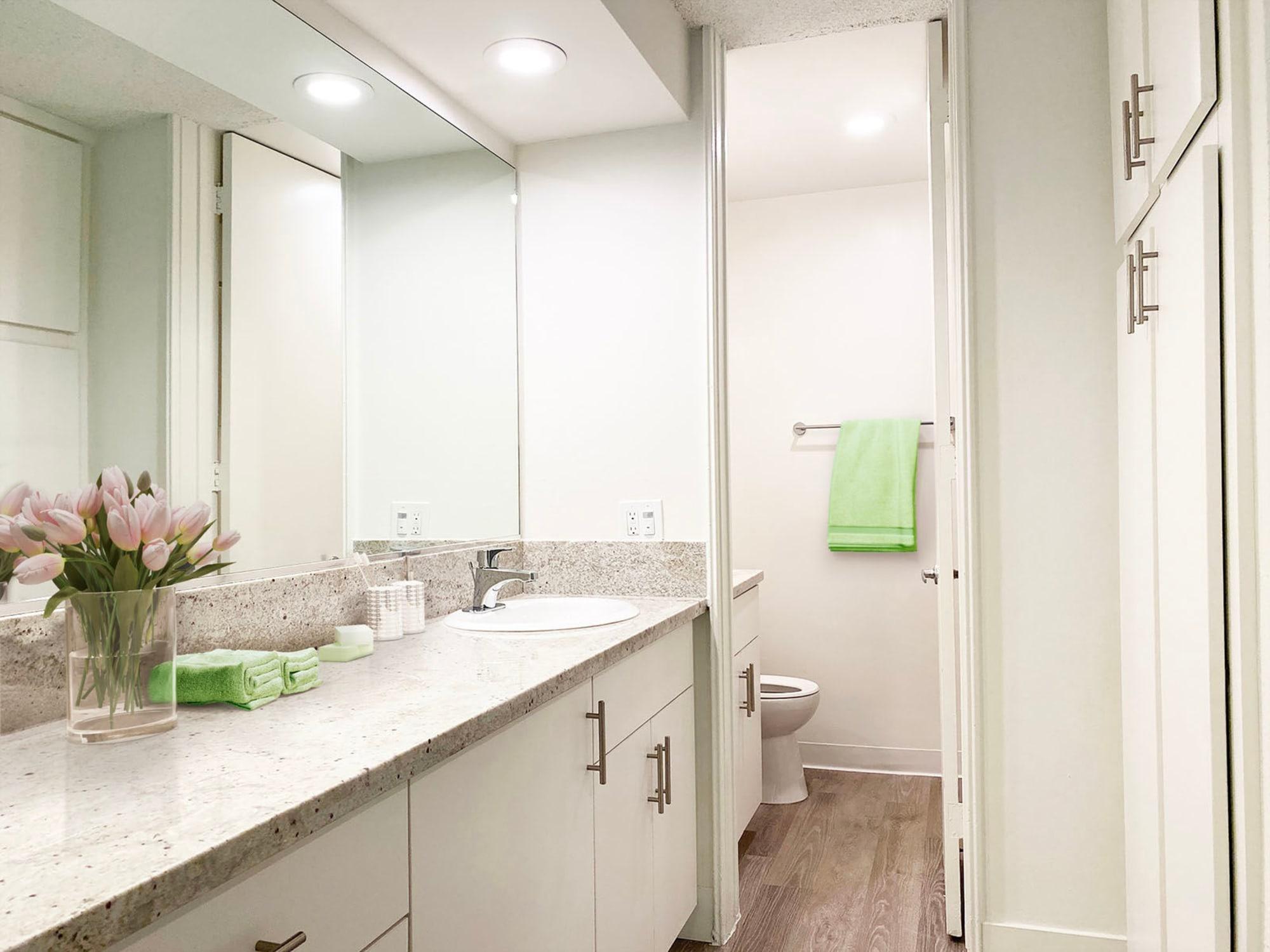 Large vanity mirror and a granite countertop in a model apartment's bathroom at Casa Granada in Los Angeles, California