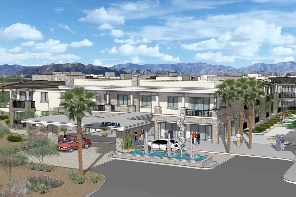 Rendering of front entrance at Avenida Palm Desert senior living apartments in Palm Desert, California