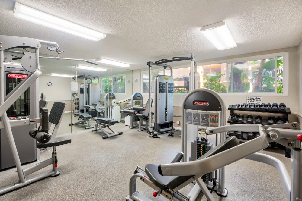 Well-equipped fitness center at Casa Granada in Los Angeles, California