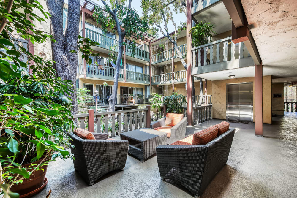 Lush flora and mature trees in a courtyard lounge area at Mediterranean Village in West Hollywood, California