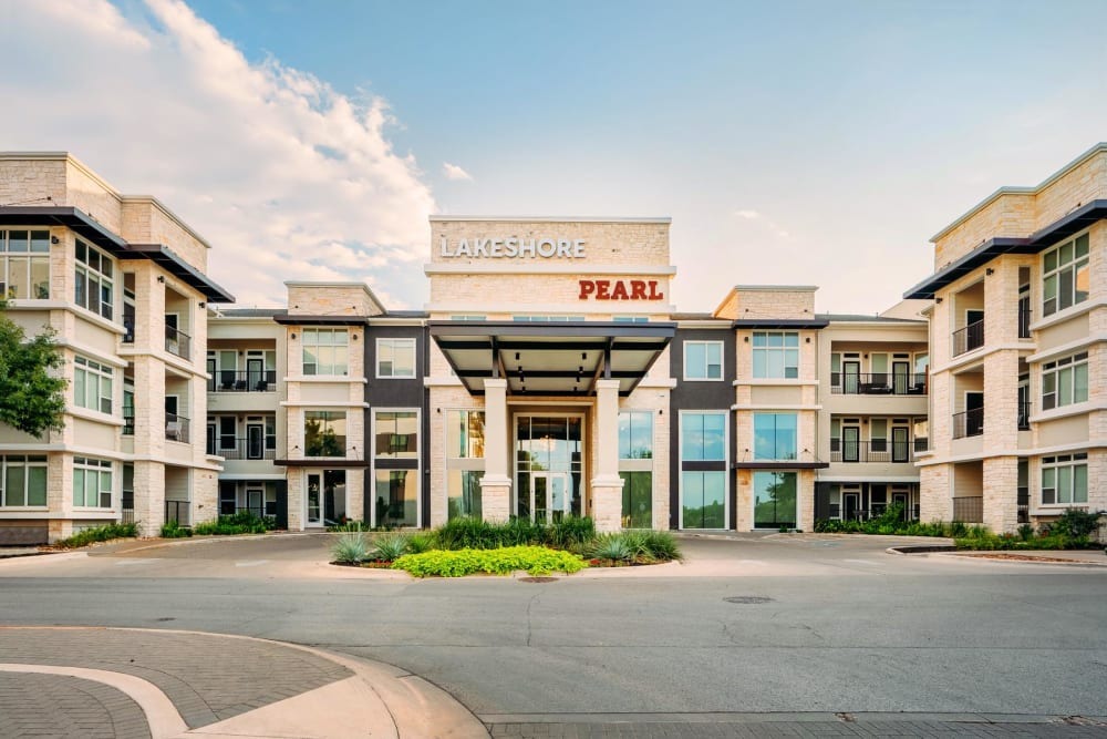 Exterior view of our community's entrance at Lakeshore Pearl in Austin, Texas