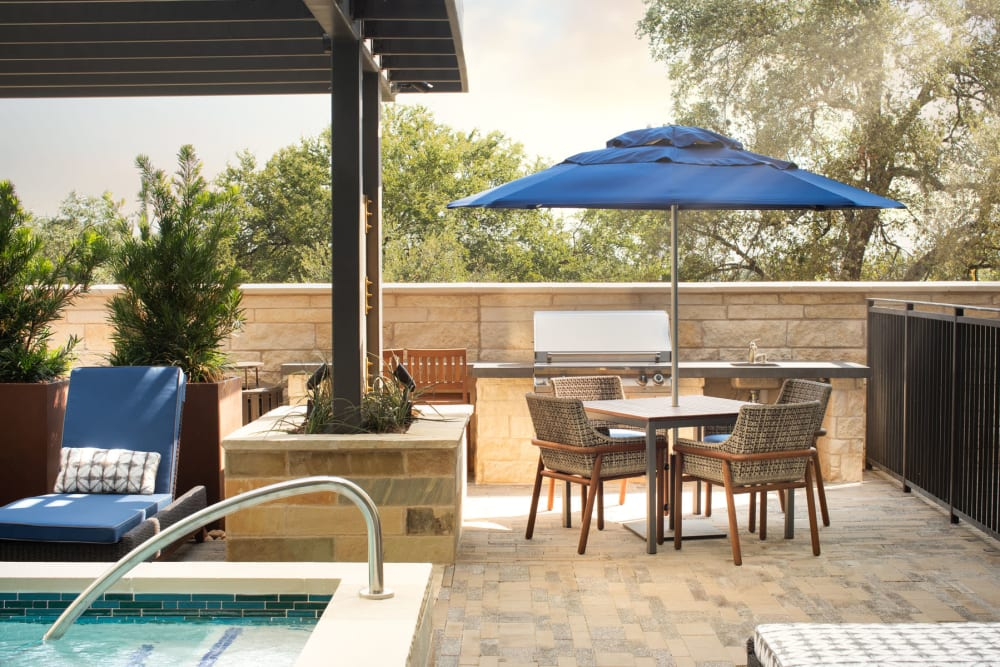 Comfortable places to relax near the pool at Magnolia Heights in San Antonio, Texas
