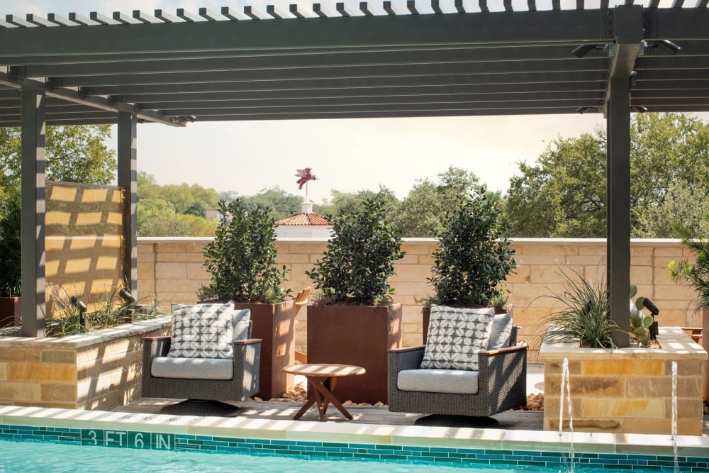 Shady place to relax near the pool at Magnolia Heights in San Antonio, Texas