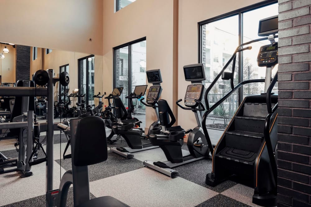 Well-equipped onsite fitness center at The Guthrie in Austin, Texas