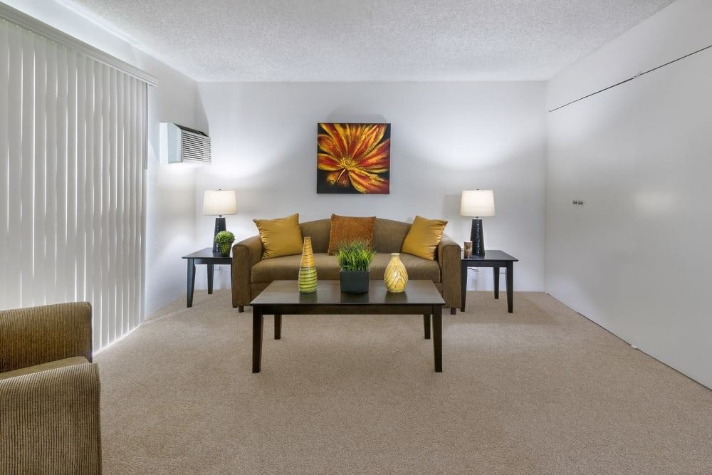 Large open living room waiting for your furniture at The Terrace in Tarzana, California