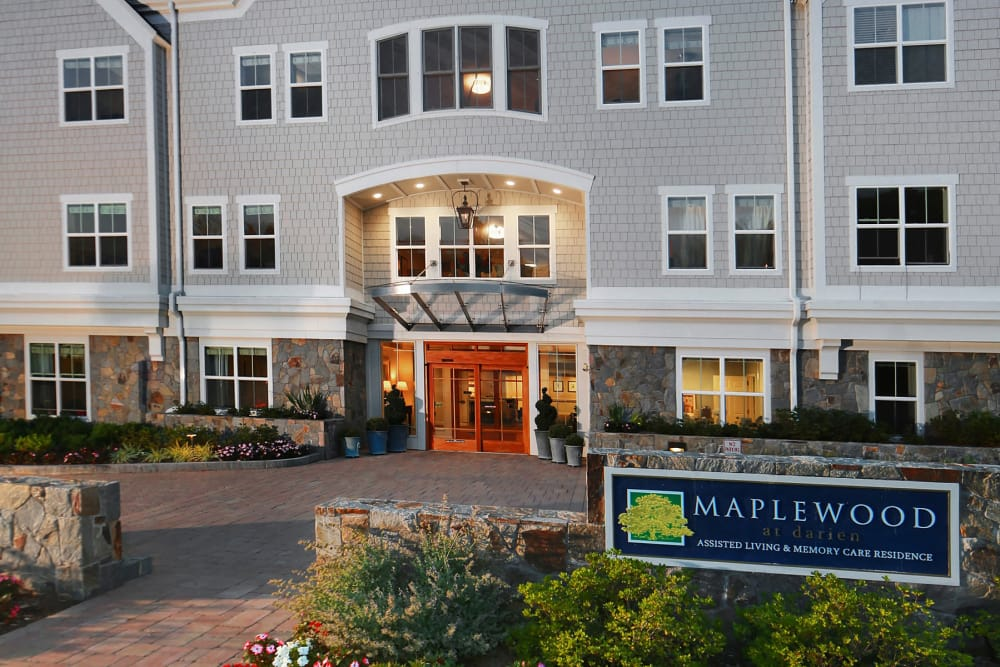 Front entrance of Maplewood at Darien in Darien, Connecticut