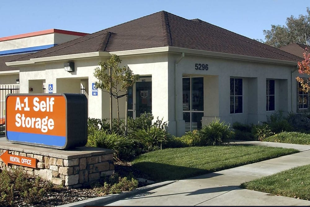 The front entrance to A-1 Self Storage in Concord, California