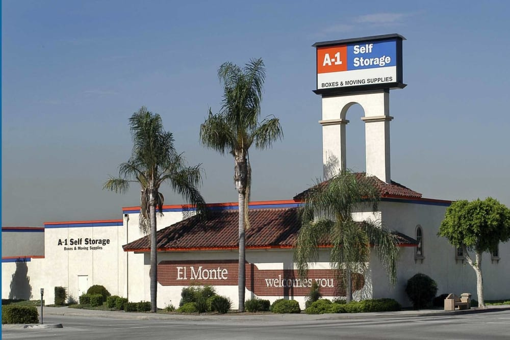 The front entrance to A-1 Self Storage in El Monte, California