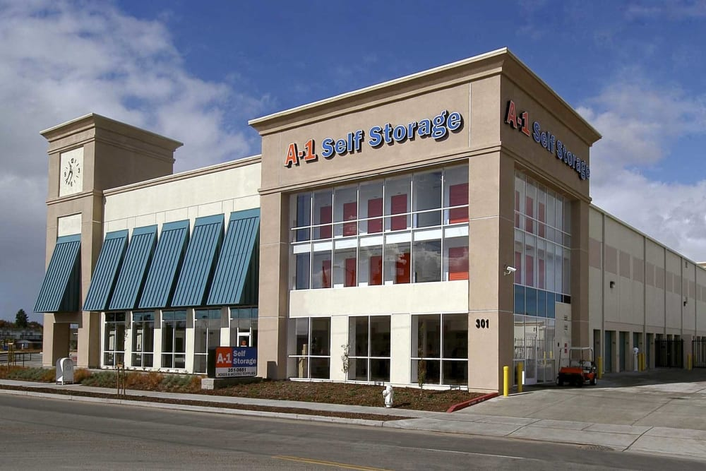 Exterior of the main office at A-1 Self Storage in Oakland, California