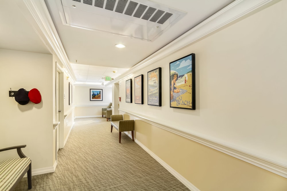 Spacious hallways at Merrill Gardens at First Hill in Seattle, Washington.