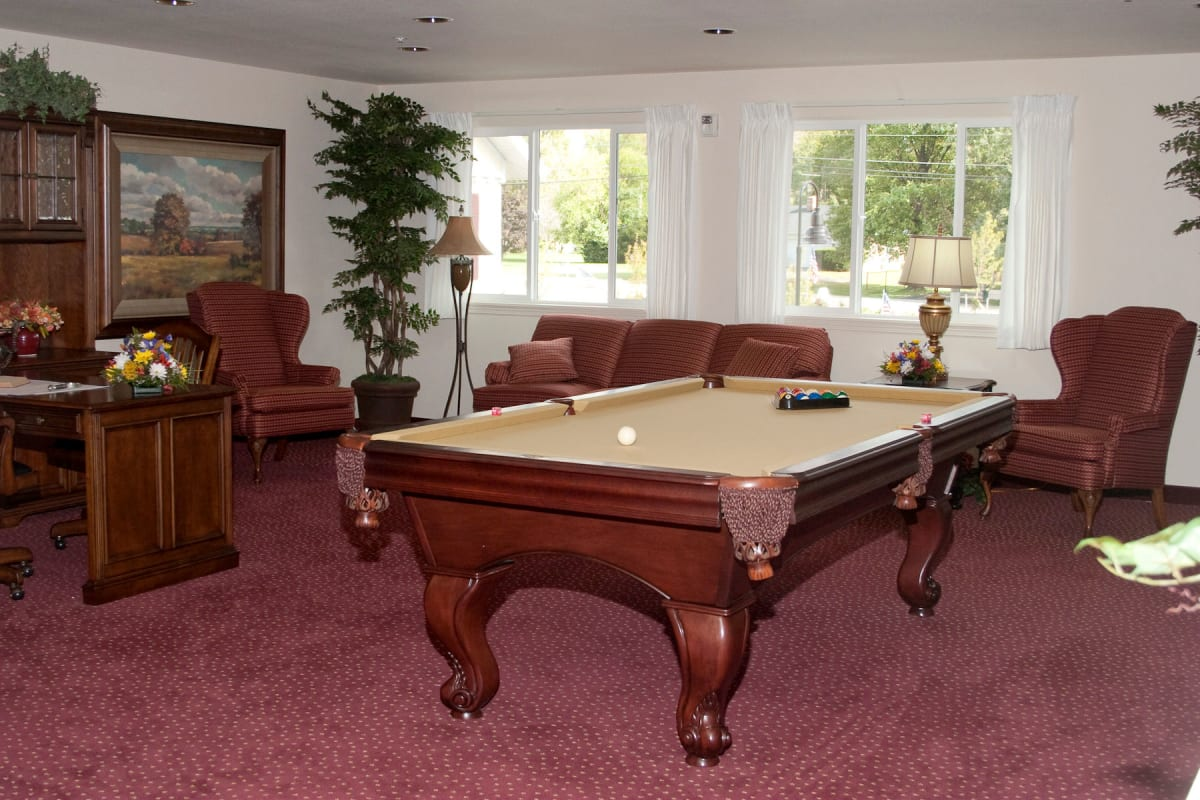 Community billiards table at Amber Park in Pickerington, Ohio