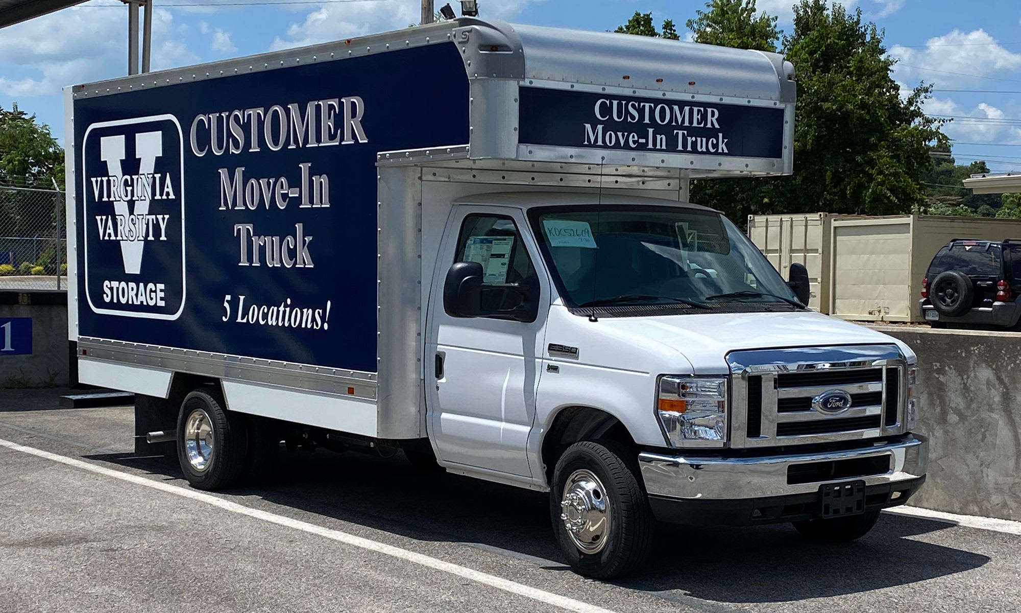 Customer Move-In Truck at Virginia Varsity Storage in Roanoke, Virginia is located
