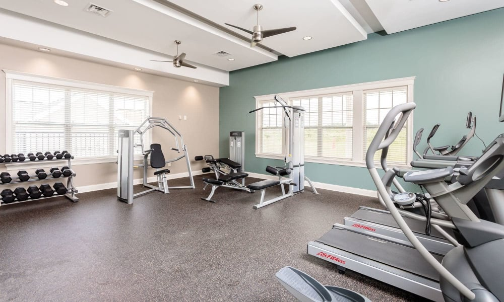 Fitness center at Canal Crossing home in Camillus, New York