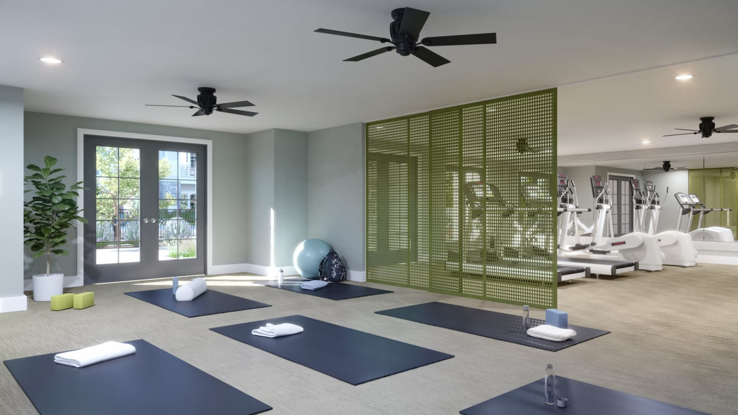 Yoga studio at Avenida Naperville senior living apartments in Naperville, Illinois