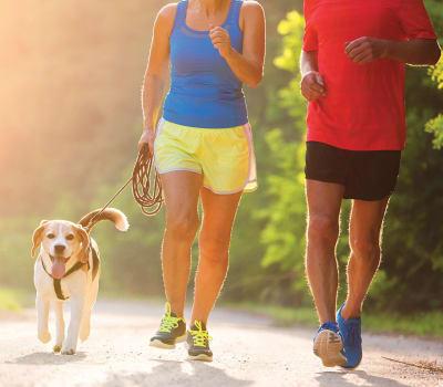 People jogging with their dog near Cedar Ridge