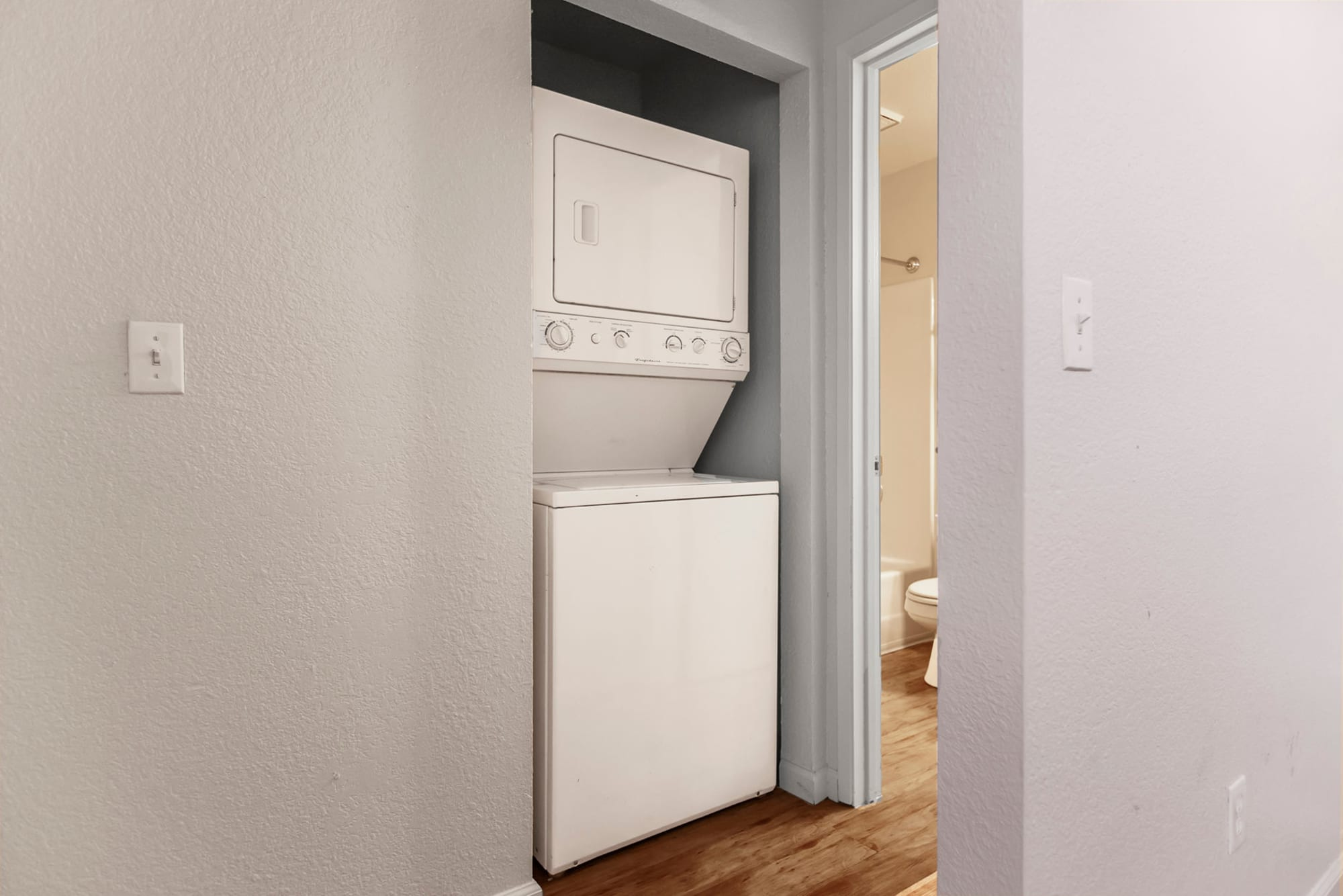 Washer and dryer stack-able at Sommerset Apartments in Vacaville, CA