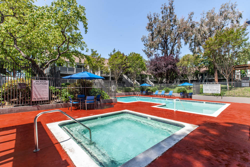 Beautiful resort-style swimming pool and spa at The Timbers Apartments in Hayward, California