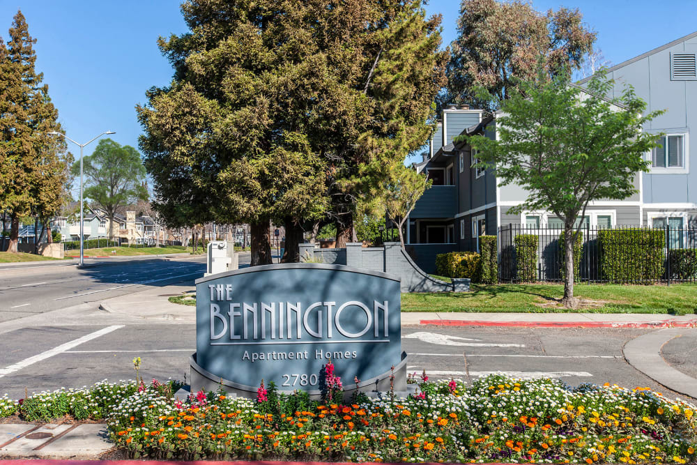 Front monument sign at Bennington Apartments in Fairfield, California