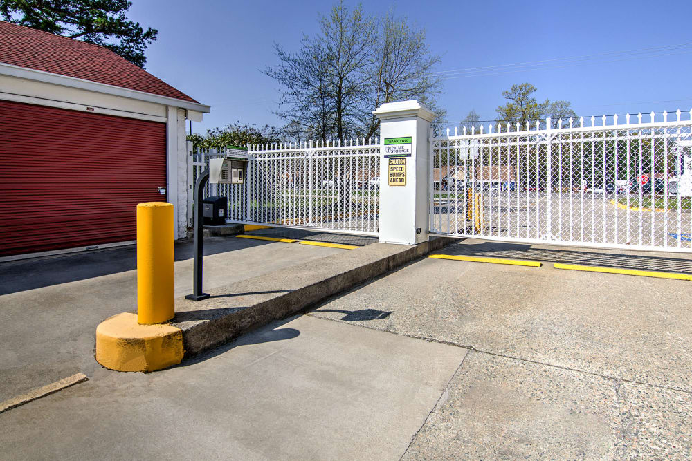 Gated entrance at Prime Storage in Midlothian, Virginia