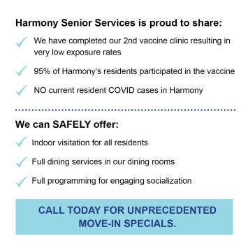 Vaccine info at Harmony Senior Services