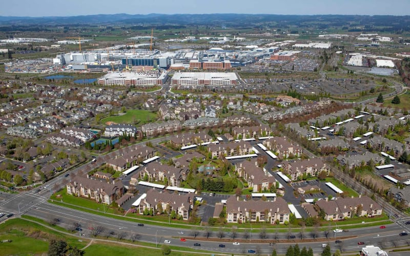 An aerial view of the property and surrounding area at The Grove at Orenco Station in Hillsboro, Oregon