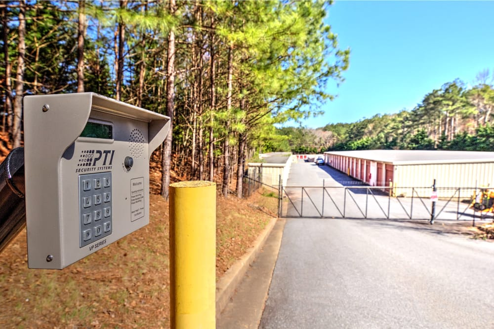 Secured gated entrance to Prime Storage in Acworth, Georgia