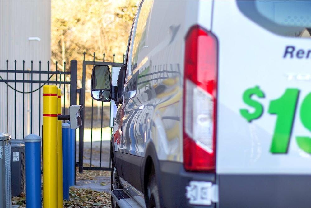 Rental van entering Rite Storage in Middletown, NY