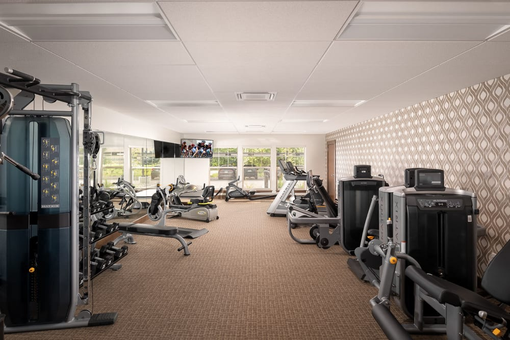 sophisticated gym with beautiful views at The Springs at Bozeman in Bozeman, Montana