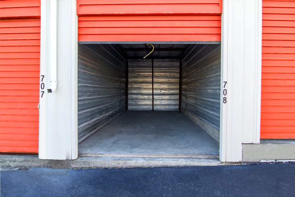 Outdoor storage unit with roll up door at Prime Storage in Albany, NY