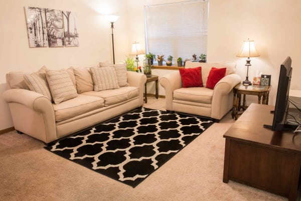 Apartment living room at West Towne in Ames, Iowa