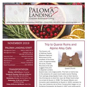 November Paloma Landing Retirement Community newsletter