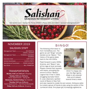 November Salishan Gracious Retirement Living newsletter