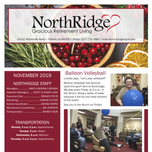 November Northridge Gracious Retirement Living newsletter