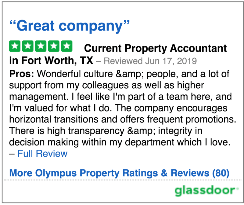 Glassdoor review 6 of Olympus Property in Fort Worth, Texas