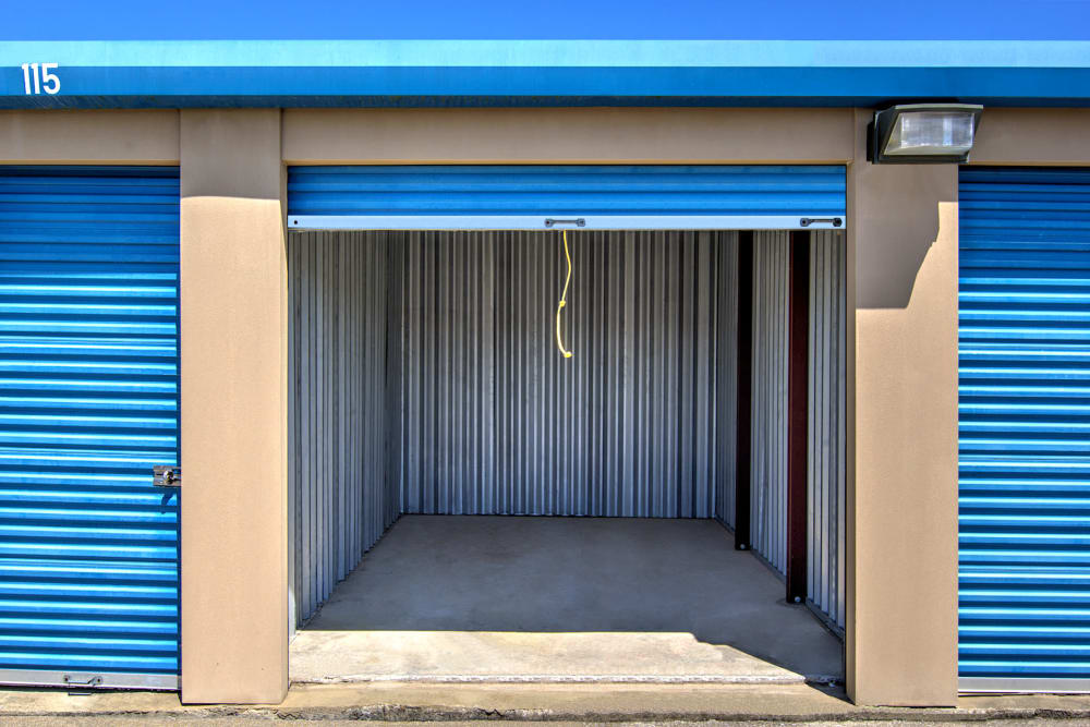 Outdoor storage units at Safe Storage in Lexington, Kentucky