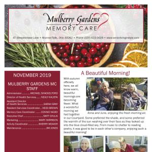 November Mulberry Gardens Memory Care Newsletter