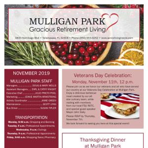 November Mulligan Park Gracious Retirement Living newsletter