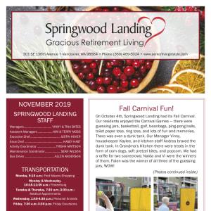 November Springwood Landing Gracious Retirement Living newsletter