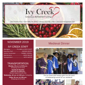 November Ivy Creek Gracious Retirement Living newsletter