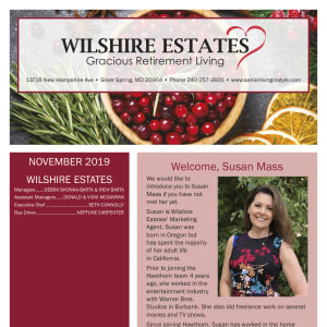 November Wilshire Estates Gracious Retirement Living Newsletter