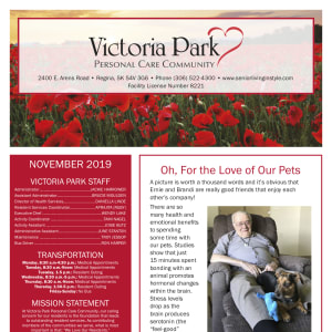 November Victoria Park Personal Care Home newsletter