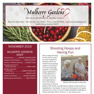November Mulberry Gardens Assisted Living Newsletter
