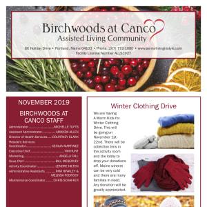 November Birchwoods at Canco Assisted Living newsletter