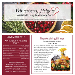 November Winterberry Heights Assisted Living and Memory Care newsletter