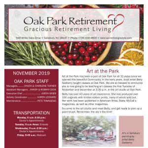 November Oak Park Retirement newsletter