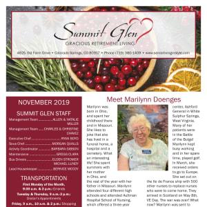 November Summit Glen newsletter