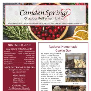 November Camden Springs Gracious Retirement Living newsletter