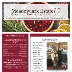 November Meadowlark Estates Gracious Retirement Living newsletter