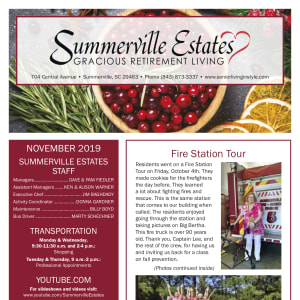 November Summerville Estates Gracious Retirement Living newsletter